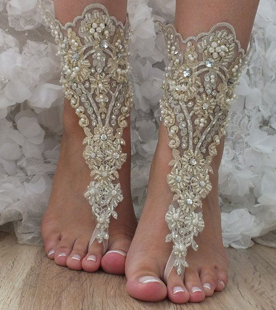 OOAK Champagne Gold Lace Barefoot Sandals Wedding Shoes Foot Jewelry Beach