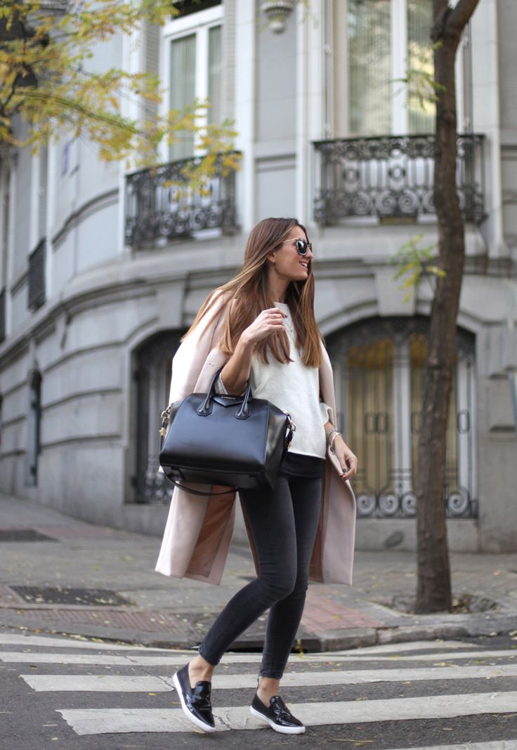 Long Pink Coat, Slip On Sneakers, Givenchy Bag http://FashionCognoscente.Blogspot.com