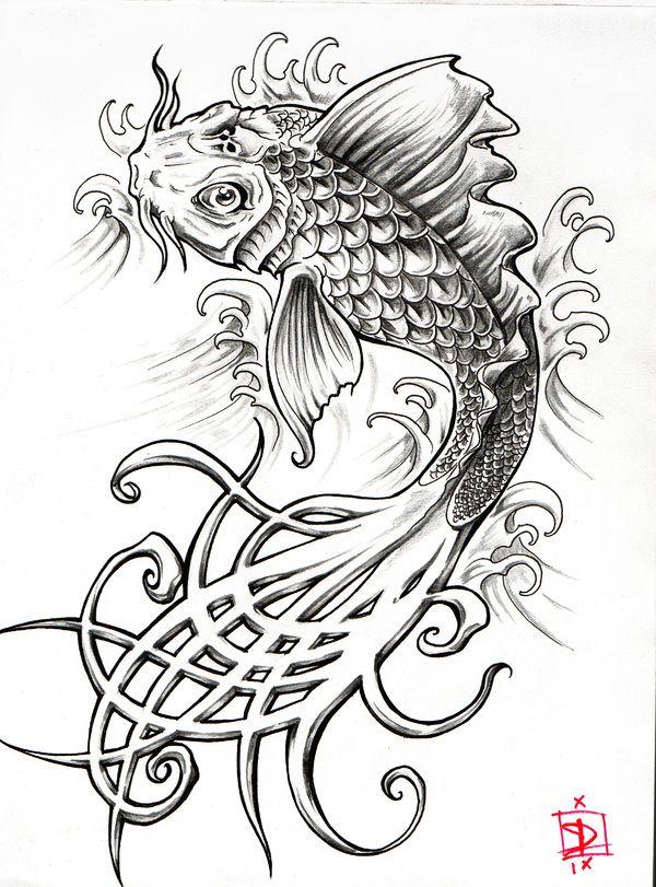 Carpe koi deviendra dragon peut etrd needs a bit of work on the head but cool tattoos - Dragon japonais dessin ...