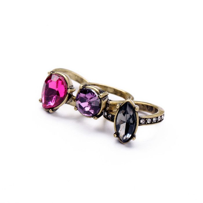 Michelle. Set of 3 vintage style stone rings Size: UK-Q / US-8