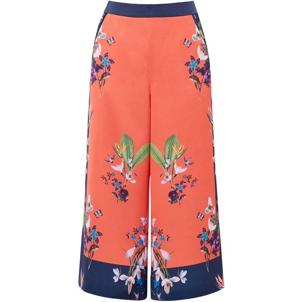 Ted Baker Tessey Tropical Oasis Culottes (2855 TWD) ❤ liked on Polyvore featuring pants, capris, sale women trousers, loose fit pants, red pants, ted baker, loose patterned pants and ted baker pants