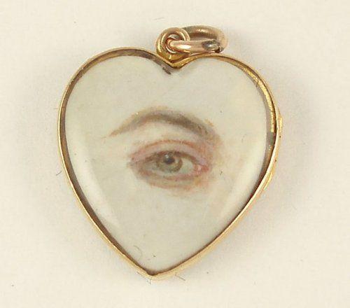"""Lovers' eye"", eye miniature on ivory, c. 1830s"
