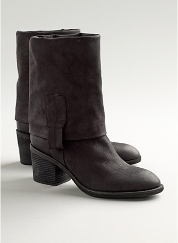 I'd love to have these boots.  So simple and cute.  The cuff can be worn as pictured or it can be worn up for a tall boot.