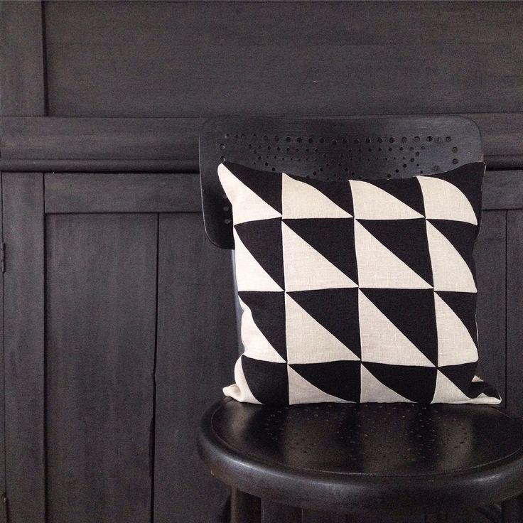 Modern patchwork. Linen pillowcover.