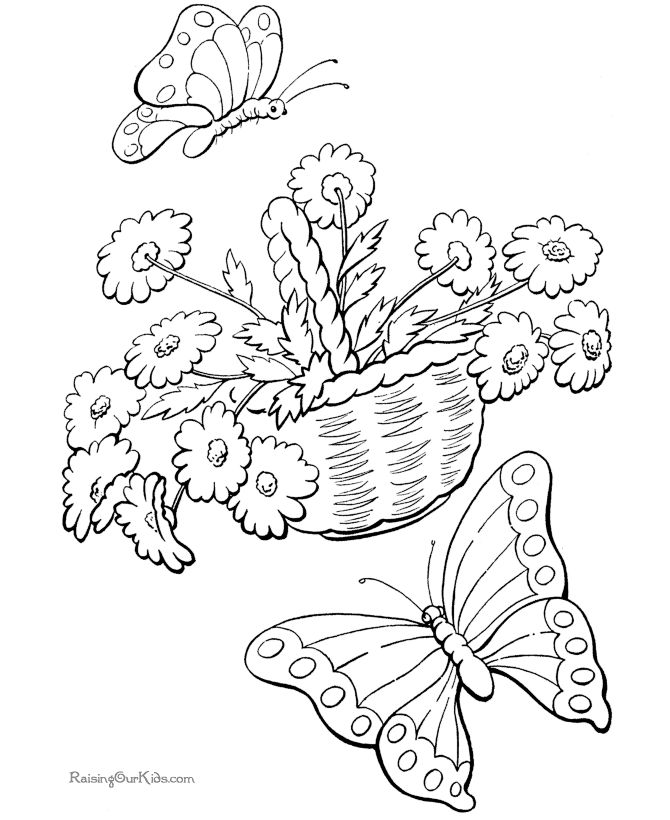 Butterflies And Flowers Spring Coloring PagesFlower PagesKids