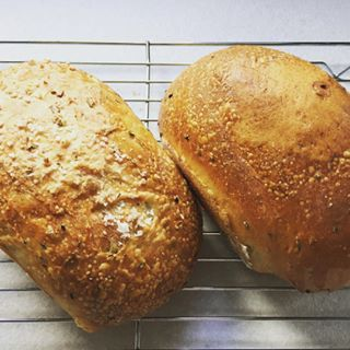 Saturday morning baking!! Rosemary and sea salt, & caraway and onion seed loafs #properfoodie