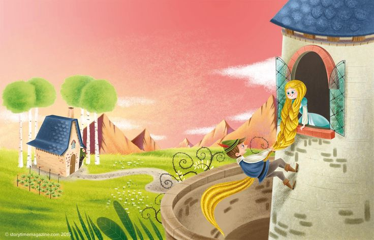 Gorgeous Rapunzel art by Katya Longhi (http://katyalonghi1.blogspot.co.uk) for our Favourite Fairy Tale in Storytime Issue 7.  ~ STORYTIMEMAGAZINE.COM