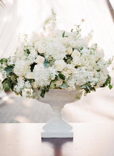 Hydrangea rose altar arrangement