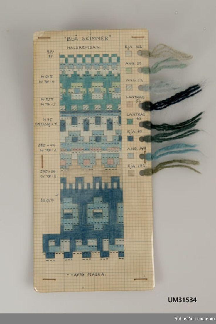 Avlång handtillverkad mönsterritning för mönstret Blå skimmer, halsremsan, av Anna-Lisa Mannheimer-Lunn, Bohus Stickning 1949.