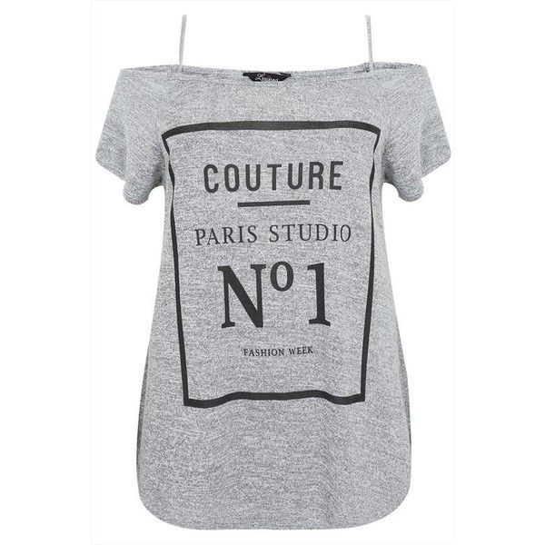 Grey Marl Cold Shoulder Top With 'Couture Paris' Slogan Print Plus... (£17) ❤ liked on Polyvore featuring tops, open shoulder top, plus size tops, cold shoulder tops, pattern tops and woven top