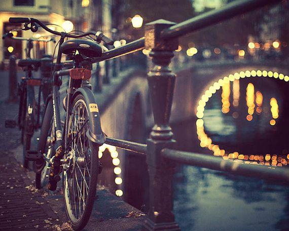 Amsterdam Photography Bicycle Art Blue by EyePoetryPhotography