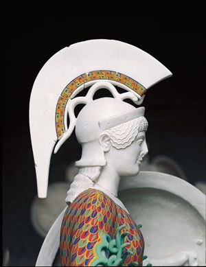 """Athena. Reconstruction was restricted to areas whose original appearance may be determined with some certainty.  """"I knew, of course, that Greek and Roman sculpture was once painted,"""" says Susanne Ebbinghaus, curator of ancient art at the Harvard University Art Museums, """"but there is a big difference between this abstract notion and actually attempting to imagine what the sculptures might have looked like."""" Gods in Color: Painted Sculpture of Classical Antiquity at the Arthur Sackler Museum 2007Greek Archaeology, Statues Painting, Ancient Greek, Ancient Beautiful, Painting Sculpture, Goddesses Archaeology, Athenajpg 446576, Greek Statues, Ancient Art"""