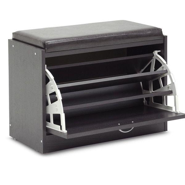 Baxton Studio Espresso Modern Shoe-Rack Bench