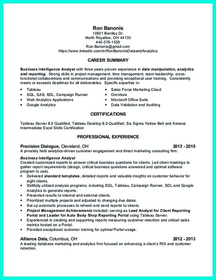 2695 best Resume Sample Template And Format images on Pinterest - business intelligence sample resume
