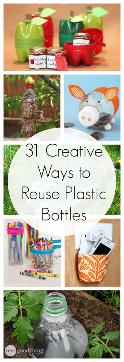 Rather than sending all your plastic bottles to the recycling plant (where they are landfill bound eventually) --- REUSE them! Check out this list of creative and useful things to make out of plastic bottles for your home, office, and garden!
