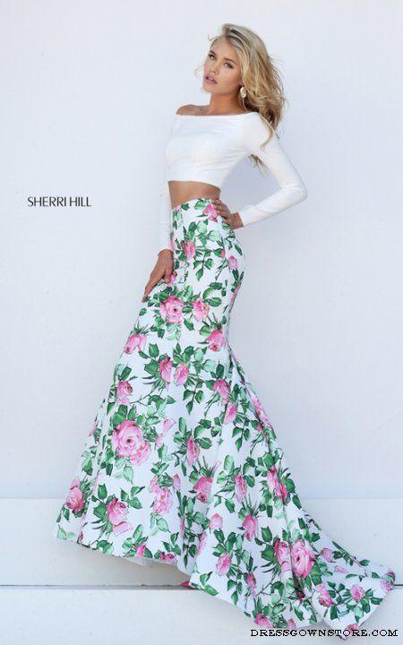 Sherri Hill 50433 Ivory Two Piece Mermaid Prom Dress