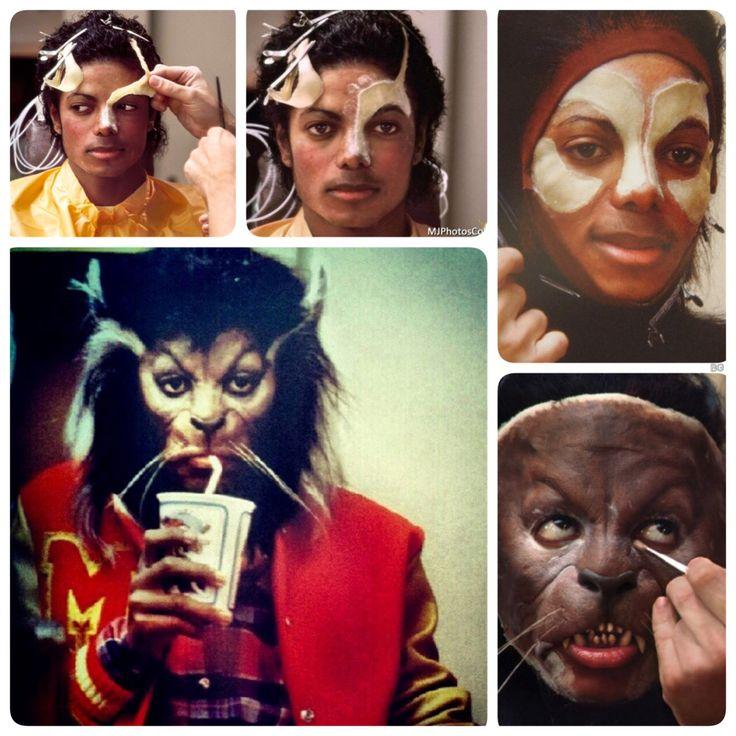 ❤️Michael jackson che viene truccato per interpretare la parte del lupo nel video di Thriller ❤️❤️❤️