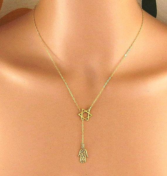 Gold hamsa necklaceGold magen david necklacestar of by Salshelima