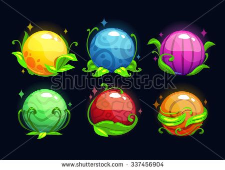 Beautiful magic round plants set, vector fantasy fruits icons