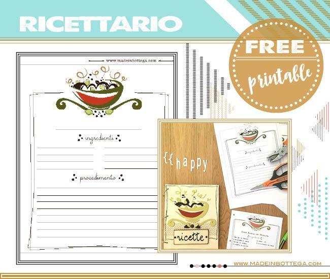 ricettario free printable - free printable cookbook