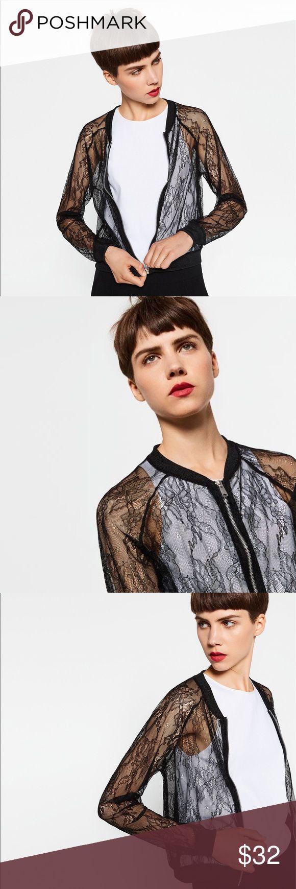 Zara Lace Bomber Jacket Chic Black Lace Zara Bomber in Like New Condition Zara Tops