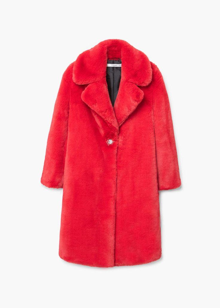 Lapels faux fur coat -  Women | MANGO USA