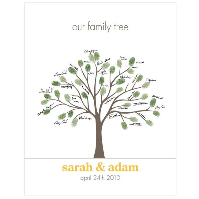 DEF! Instead of guest book, draft tree and have fingerprints with names. . .