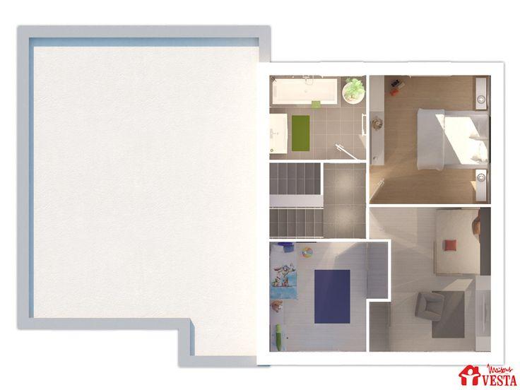 Maisons VESTA : plan du demi-niveau du modèle Modèle Olympe (demi-niveau style contemporain). Surface : 85m² + 45.77 m² de surface annexe