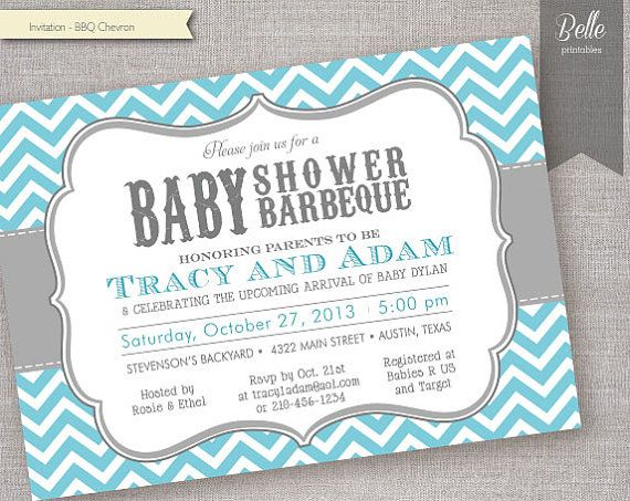 Chevron Blue BBQ Baby Shower invitation  DIY by BellePrintables, $12.50