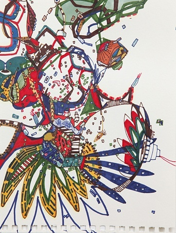"""Tribe, markers on paper 6""""x9""""  This one is taken"""
