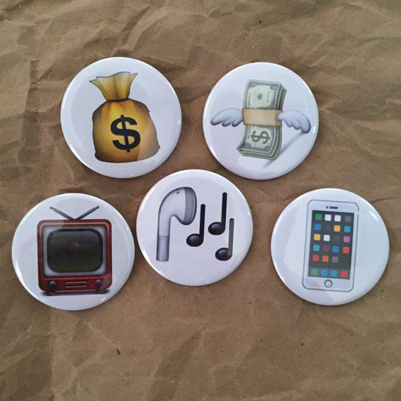 Miscelaneous emoji buttons by HypotheticalButtonCo on Etsy