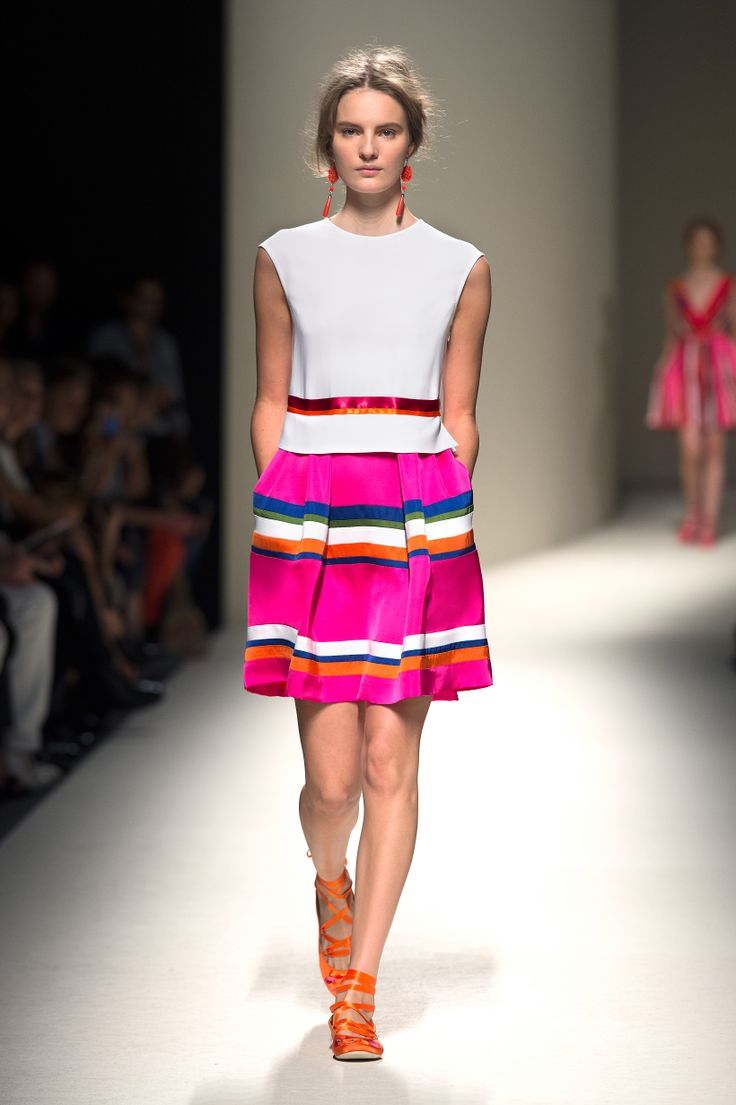 Trend Alert: Alberta Ferrerti's striped, multi - colored skirt.