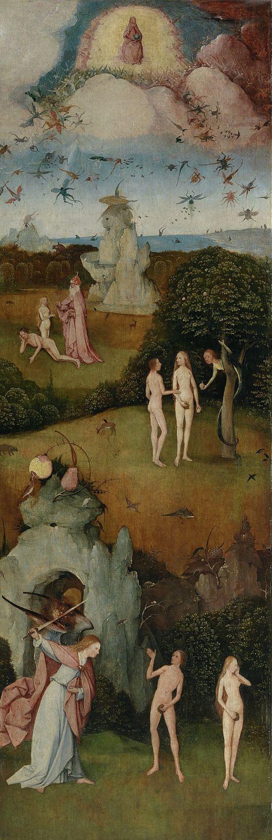 Panel Izquierdo, La caída de los ángeles, la creación de Eva, el Pecado original y la expulsión del paraíso.; Óleo sobre tabla, 147x66cm.