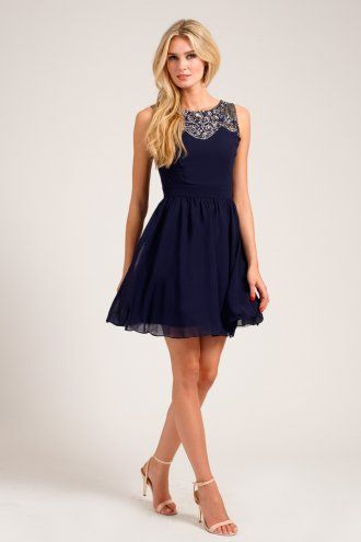 Navy Embellished Lace Detail Sweetheart Neckline Prom Dress