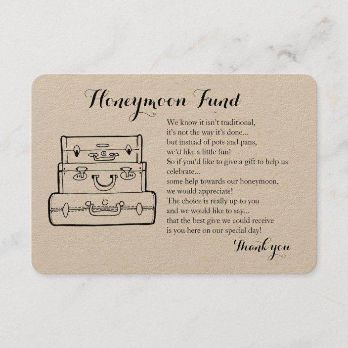 Honeymoon Fund Request Wedding Insert Card Zazzle Com Honeymoon Fund Honeymoon Plan Your Wedding
