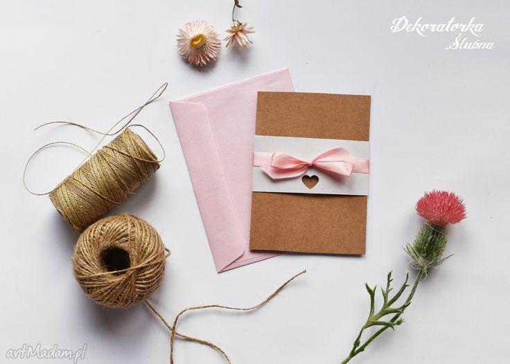 Zaproszenie ślubne valeska zaproszenia ekologiczne eko eco perłowe kokarda papieru