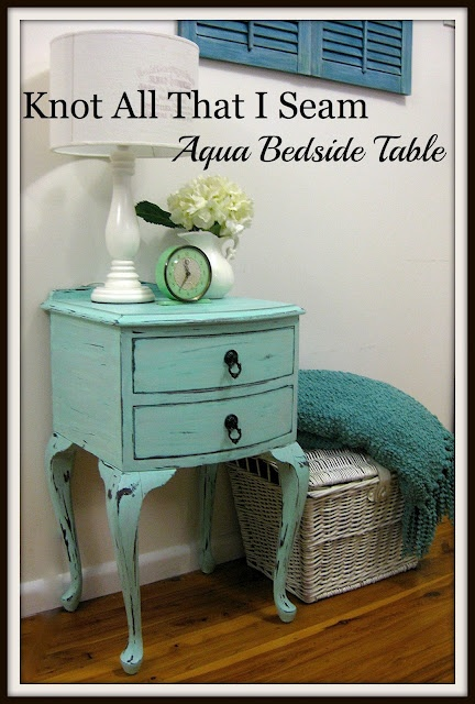 painted teal bedside table