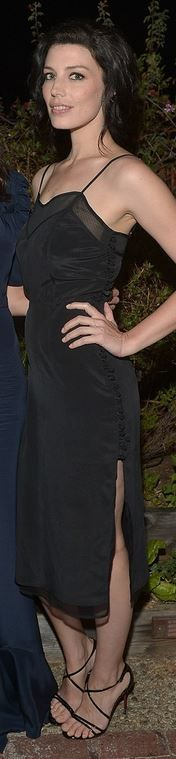 Who made Jessica Pare's mesh dress, jewelry, and black sandals that she wore in West Hollywood on March 20, 2014? Dress – Carmella  Jewelry – Jacquie Aiche  Shoes – Christian Louboutin