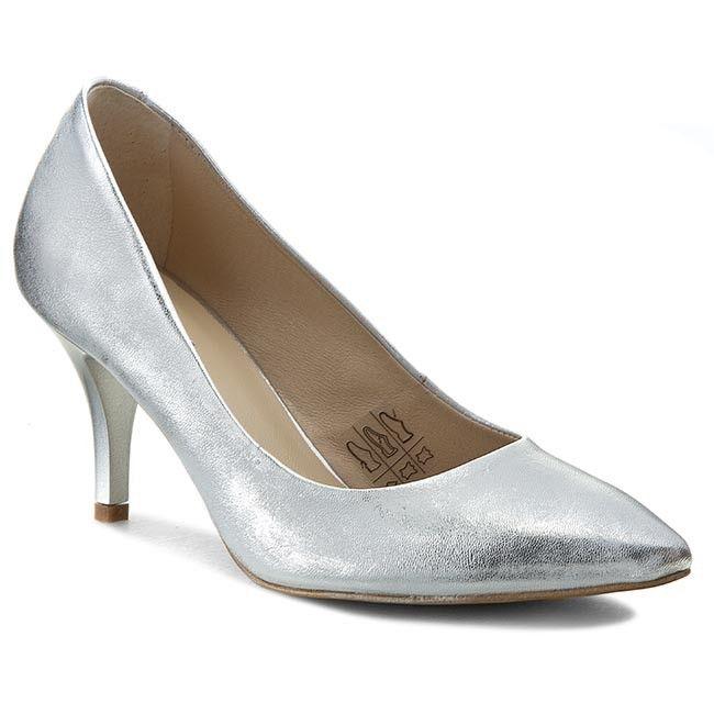 Pantofi cu toc subțire EKSBUT - 14-2949-369-1G Srebro Lic