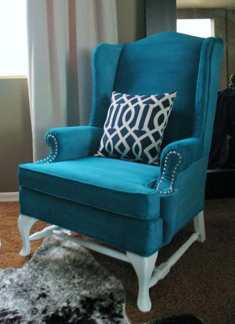 Upholstered Chair Kristy From Hyphen Interiors Used A Mixture Of Water,  Fabric Medium And Latex Paint To Give This Old Wingback Chair A Facelift.