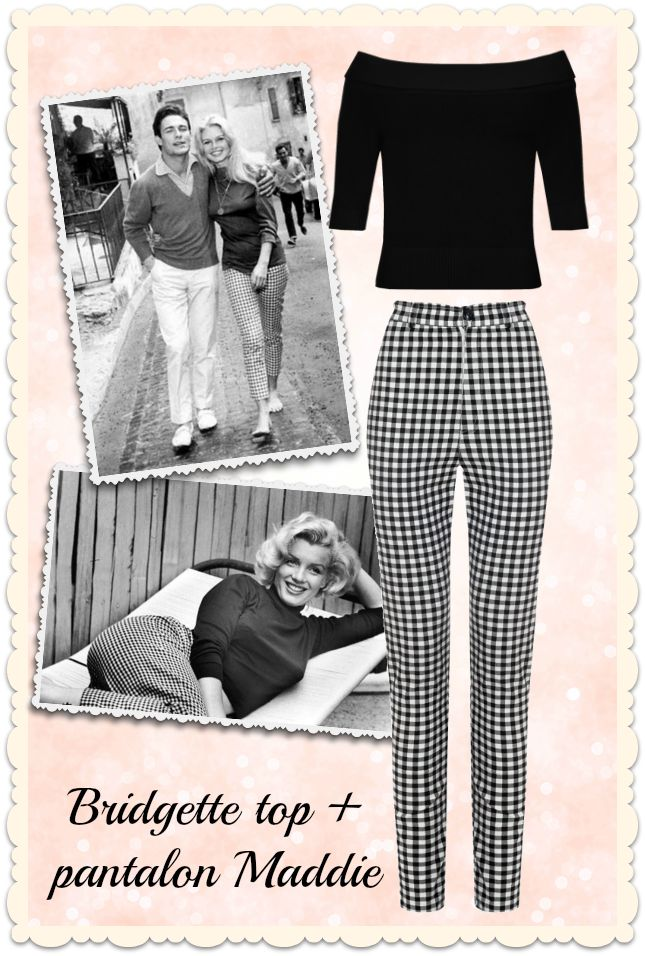 """Dress like a star! Brigitte Bardot and Marilyn Monroe loved wearing blakc & white gingham trousers, find them at missretrochic.com now! Maddie hight waist trousers & Brisgette """"Bardot"""" top - Miss Retro Chic retro, vintage & glamour boutique"""