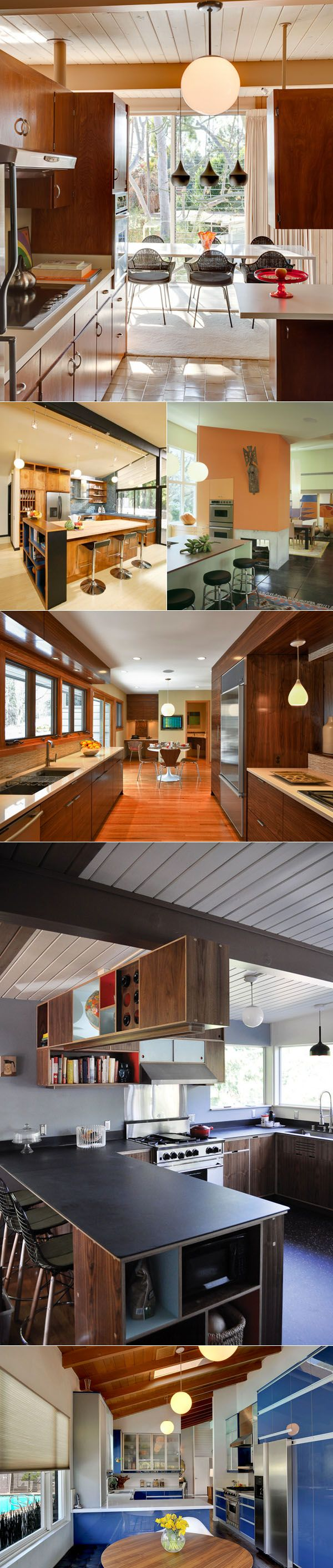 Mid Century kitchen. Love the first one on 2nd row