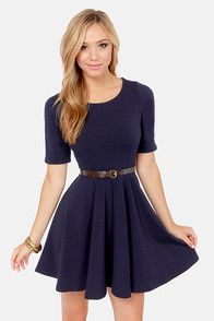 Others Follow Shirley Navy Blue Skater Dress