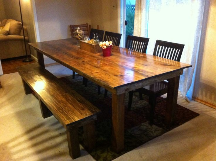 Rustic farmhouse wood dining table and bench Ana White plans Minwax Dark Wa