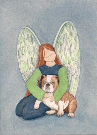 Bulldog with angel / Lynch signed folk art by watercolorqueen, $12.99