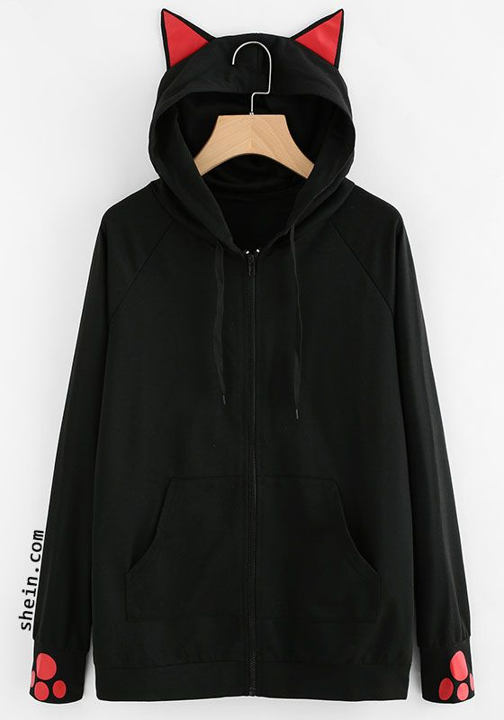 a8c411e0 Cat-Ear Hooded Sweatshirt Jacket   Spotlights   Fashion, Clothes ...