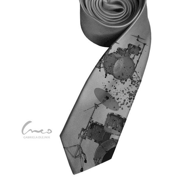 Krawat śledzik z nadrukiem - perkusja - creo-creo - Krawaty