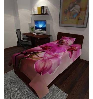 Заказать покрывало с фотопечатью «Пурпурные орхидеи» с индивидульным размером, из ткани на выбор