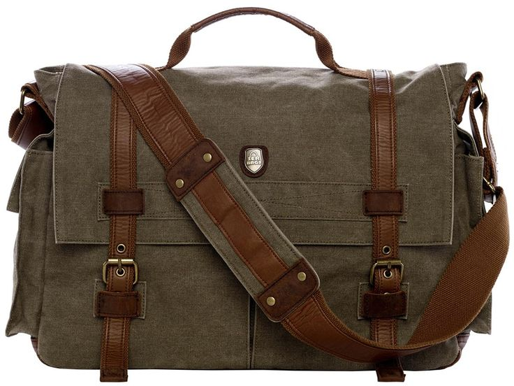 "17"" Laptop Army Green Leather & Canvas Messenger Bag"