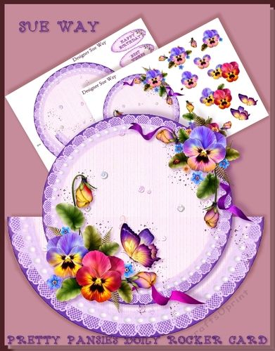 A pretty rocker or wobble card made up of a lace doily with a pretty bouquet of pansies in purples and dark pink. Would make a lovely card for a birthday or anniversary.    Mini kit includes rocker card base, with fold guide, topper & easy to cut out decoupage layers.     There are also 6 coordinating greeting tags:  Happy Birthday, Best Wishes, Special Daughter, Special Mum, With Love and one left blank for your own greeting or name.